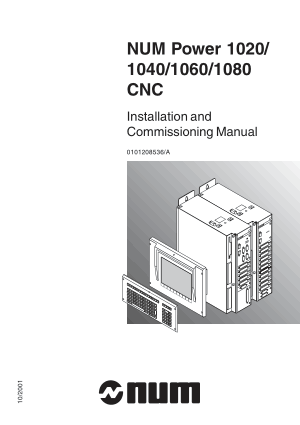NUM Power 1020/1040/1060/1080 CNC Installation and Commissioning Manual