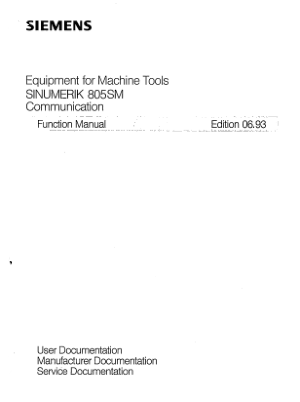 SINUMERIK 805SM Communication Function Manual