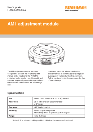 Renishaw AM1 adjustment module User Guide