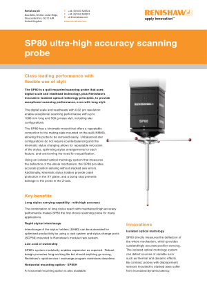 Renishaw SP80 ultra-high accuracy scanning probe