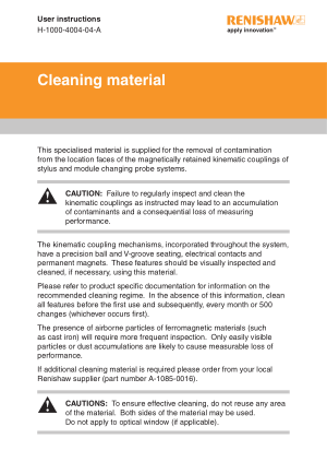 Renishaw Cleaning material User instructions