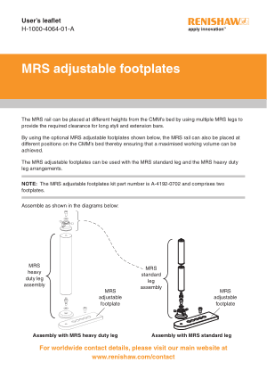 Renishaw MRS adjustable footplates User leaflet