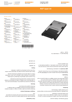 Renishaw RCP repair kit Installation leaflet