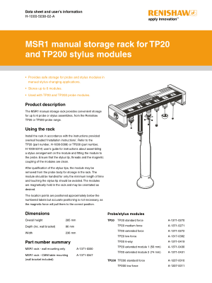 Renishaw MSR1 manual storage rack Data sheet