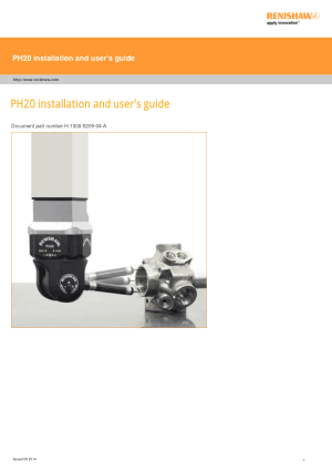 Renishaw PH20 installation and users guide
