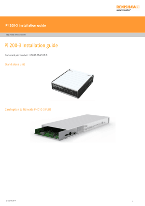Renishaw PI 200-3 installation guide
