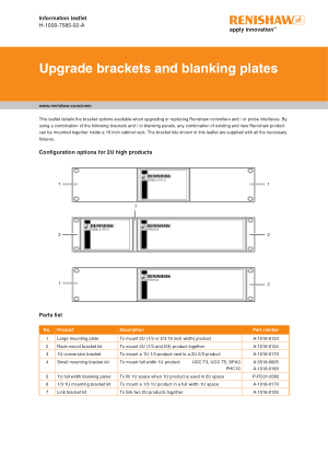 Renishaw Upgrade brackets and blanking plates leaflet