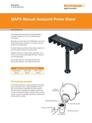 Renishaw MAPS Manual Autojoint Probe Stand Data sheet