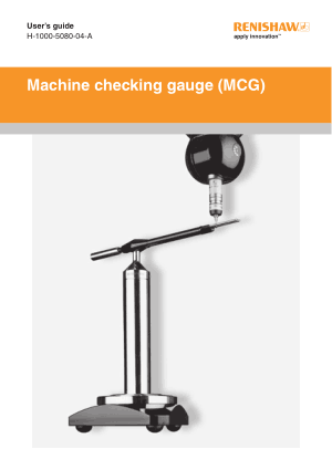 Renishaw Machine checking gauge (MCG) User's guide