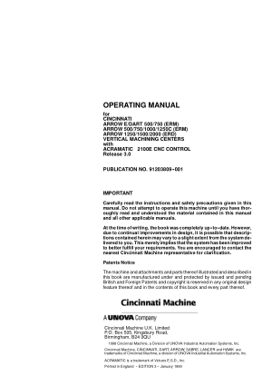 Cincinnati ARROW E Operating Manual