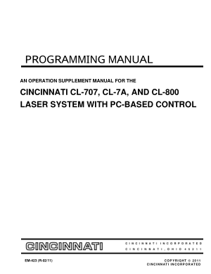 Cincinnati CL-800 Programming Manual