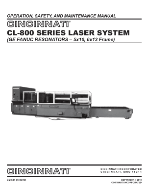 Cincinnati CL-800 Operation Maintenance Manual