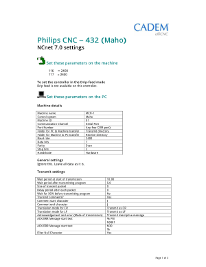 MAHO Philips CNC 432 NCnet 7 settings