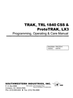ProtoTRAK LX3 Programming Manual