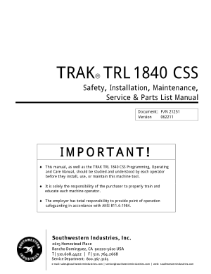 TRAK TRL1840 CSS Maintenance Manual