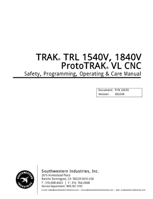 TRAK TRL 1540V, 1840V Programming Manual