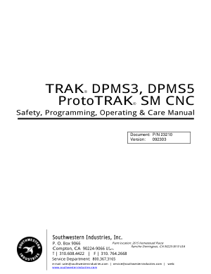 TRAK DPMS3, DPMS5 Programming Manual