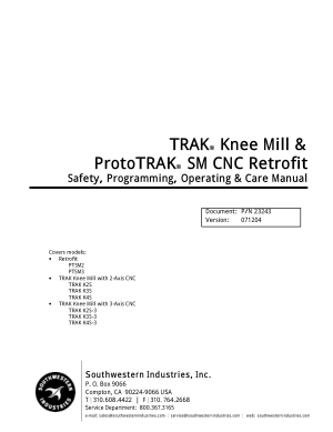 ProtoTRAK SM CNC Retrofit Programming Manual