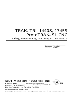 TRAK TRL 1440S Programming Manual
