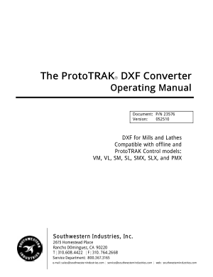 ProtoTRAK DXF Converter Operating Manual