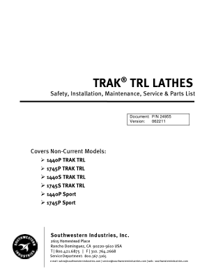 TRAK TRL LATHES Maintenance List