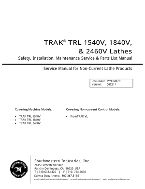 TRAK TRL 1840V Maintenance Manual