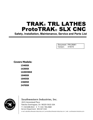 ProtoTRAK SLX CNC Maintenance List