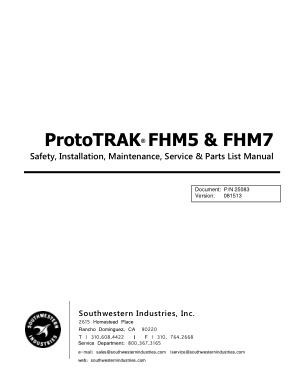 ProtoTRAK FHM5 & FHM7 Maintenance Manual