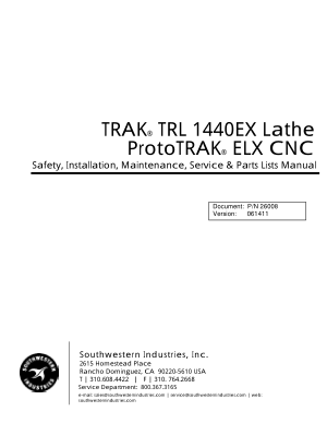 TRAK TRL 1440EX Lathe Maintenance Manual