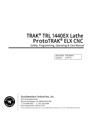 ProtoTRAK ELX CNC Programming Manual