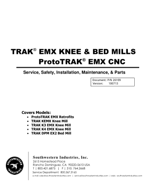 TRAK EMX KNEE ProtoTRAK EMX CNC Service Manual