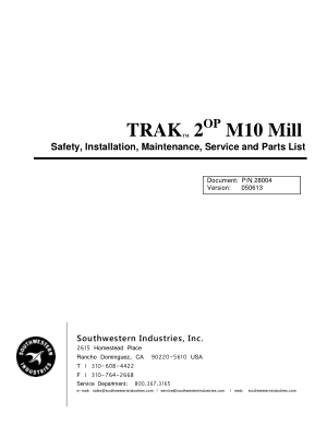 TRAK M10 Mill Service Manual