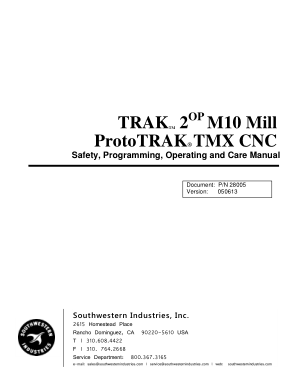 TRAK M10 Mill Programming Manual