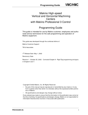 Makino Pro3 Programming Guide High-speed VMC/HMC Vertical and Horizontal Machining Centers