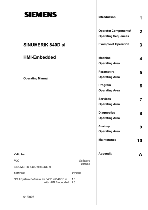 Sinumerik 840D sl HMI-Embedded Operating Manual