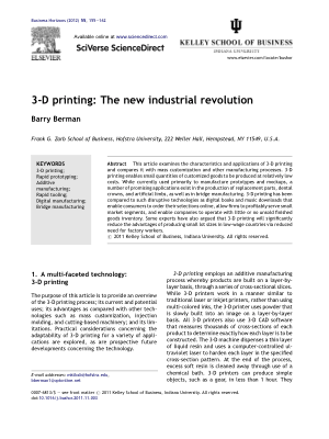 3D printing The new industrial revolution