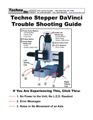 Techno Stepper DaVinci Trouble Shooting Guide