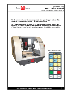 Techno CNC Systems BT1212 User Manual