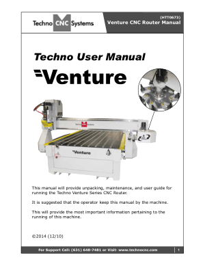 Techno Venture CNC Router User Manual