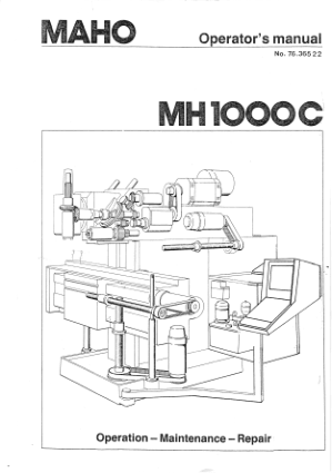 Maho MH 1000C Operator Maintenance Manual
