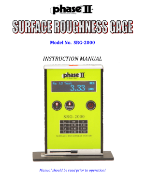 Surface Roughness Gauge SRG-2000 Manual