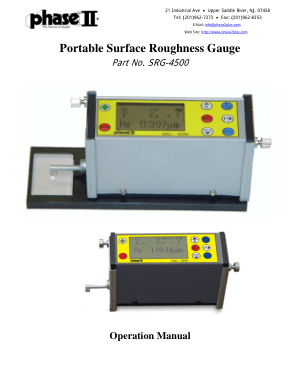 Portable Surface Roughness Gauge SRG-4500 Manual