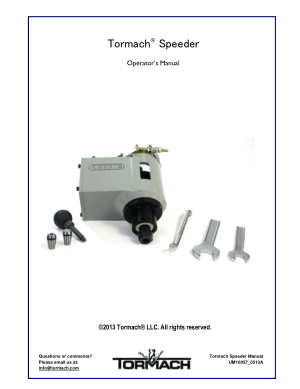 Tormach Speeder Operators Manual