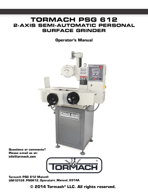Tormach PSG 612 Surface Grinder Operators Manual