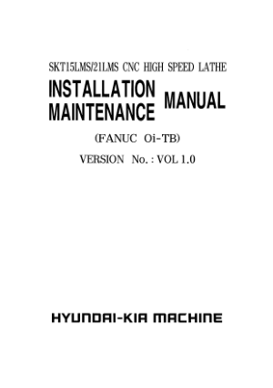 Hyundai Wia SKT15LMS Maintenance Installation Manual