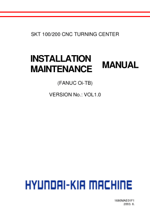Hyundai Wia SKT 100 200 Installation Maintenance Manual