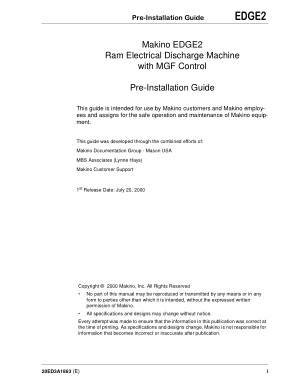 Makino EDGE2 Pre-Installation Guide Ram Electrical Discharge Machine