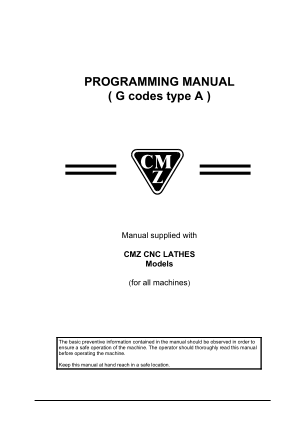 CMZ CNC Lathe Programming Manual