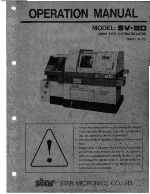 Star SV20 Swiss Type Automatic Lathe Operation Manual Fanuc 16-TC