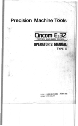 Cincom E332 Operator Manual Type IV
